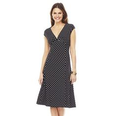 Chaps Polka-Dot Empire Dress, could easily sew the front up a little to make it more modest!