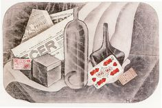 Adolf Hoffmeister, Still life with card, 1921, charcoal, collage, paper.