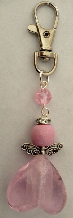 pink angel keyring