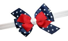 WD2U Baby Girls Red White Blue Star Spangled Patriotic Hair Bow Stretch Headband