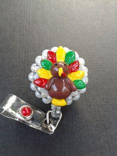 Thanksgiving Turkey  ID Badge RN Reel Holder or Pen Holder