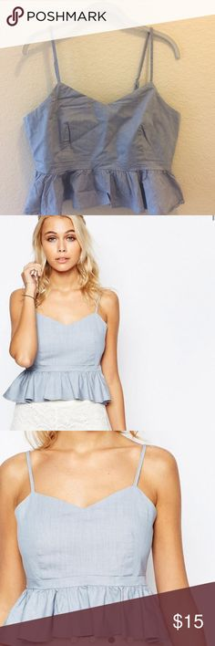SALE offer 12 Fashion Union Cami Top w/ ruffle hem Last 3 pictures from ASOS. Pale blue. Cotton-rich stretch woven fabric. Sweetheart neckline. 70%cotton, 27%modal, 3% elastane. Machine wash. fashion union Tops