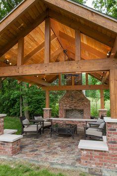 Outdoor pavilion.  Wood burning fireplace