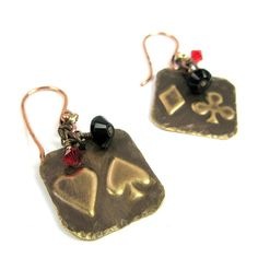 Good Luck Jewelry Playing Card Earrings by michellemach on Etsy, $20.00
