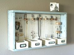 DIY Hanging Jewelry Storage Display by A Time For Everything