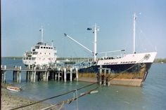 MV Pacific Trader, alongside in Karumba, Gulf of Carpenteria, Queensland. (1982)