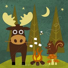 216R Retro Moose and Squirrel Camping 6 x 6 Print by leearthaus, $15.00