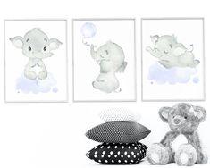 Gray Blue Elephant Wall Decor, baby gifts boy Elephant Print Canvas Print, Stickers Print wall art Baby Boy Nursery Decor Children set of 3