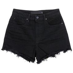 T by Alexander Wang 'Bite' frayed cuff denim shorts ($200) ❤ liked on Polyvore featuring shorts, black, bottoms, pants, high waisted shorts, denim shorts, high-waisted jean shorts, summer shorts and cuffed denim shorts