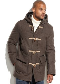 $229, Wool Blend Melton Hooded Toggle Coat by Tommy Hilfiger. Sold by Macy's. Click for more info: http://lookastic.com/men/shop_items/141537/redirect