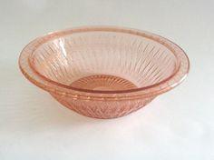 Large Vintage Pink Depression Glass Bowl by mish73 on Etsy, £6.00