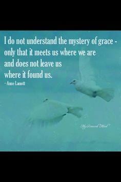 """""""I do not understand the mystery of grace--only that it meets us where we are and does not leave us where it found us."""" Anne Lamott"""