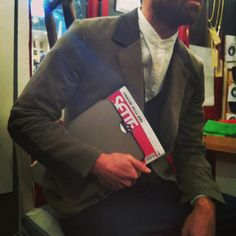 Gentleman: shirt #MauroGrifoni, blazer #Boglioli, cardigan #Zanone, ipad case #Bulgari