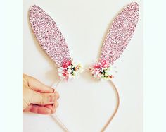 Bunny Headband /Pink Bunny Ears/Rabbit Ears Headband/Floral Crown by nashandwillow on Etsy www. Bunny Ears Headband, Head Wrap Headband, Diy Headband, Crown Headband, Metal Headbands, Floral Headbands, Baby Headbands, Elastic Headbands, Halloween Headband