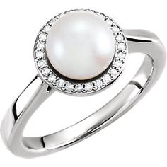 14K White 7.5-8mm Pearl & .08 ct tw Diamond Ring | Stuller.com. Available at Murphey the Jeweler.