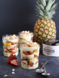 Layer this delicious tropical rum trifle with rum soaked cake, coconut custard, and rum soaked fruit for the ultimate tropical dessert.
