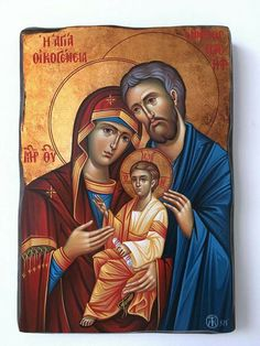 Holy Family by Konstantínos Tsirakídis of Thessaloniki Byzantine Icons, Byzantine Art, Religious Icons, Religious Art, Roman Church, Pictures Of Christ, Sign Of The Cross, Christian Artwork, Catholic Religion