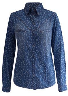 Camisa jeans estampada, manga longa azul estampado círculos - Moda Feminina - bonprix.de