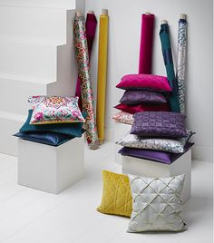 Fabrics in rich silks and satins to gladden your heart Soft Pillows, Decorative Pillows, Throw Pillows, Luxury Cushions, Love Your Home, Curtain Designs, Cushion Fabric, Curtains With Blinds, Furniture Restoration
