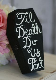 Custom Ring Bearer Pillow Box Til Death Do Us Part Coffin (item P10195). $34.99, via Etsy.