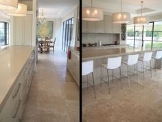 Stunning modern kitchen featuring filled & honed Classic Travertine supplied by Sareen Stone.  This particular stone gives this kitchen a warm, yet inviting look. http://www.sareenstone.com.au/inspiration