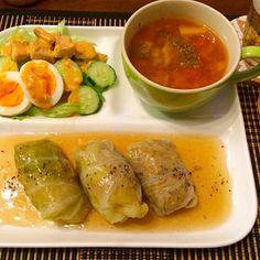 和風だしで優しい味♡ - 15件のもぐもぐ - 和風ロールキャベツ ミネストローネ 玉子サラダ by hasese