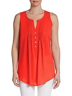Pleated Button-Front Tank