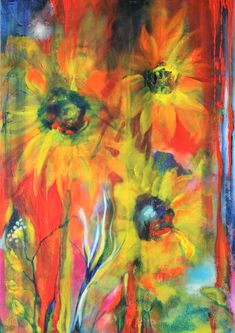 MR MARIAN HERGOUTH, Sonnenblumen, sunflowers, painting acryliclic and oil, 90 x 60 cm Abstract Flowers, Sunflowers, Flower Art, Paintings, Oil, Artist, Flowers, Paper, Paint
