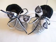 Oakland RAIDERS Football Fans Handmade Baby Booties by ZZsTeamTime