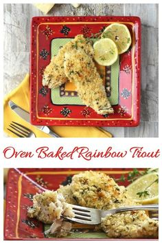 These oven baked rainbow trout fillets are crispy on the outside with a tender center that is seasoned with Dijon mustard and light mayonnaise. Rainbow Trout Recipe Baked, Steelhead Trout Recipe Baked, Rainbow Trout Recipes, Baked Trout, Trout Recipes Oven, Trout Fillet Recipes, Pork Recipes, Fish Recipes, Cooking Recipes