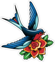343 Vintage Old School Tattoo Decal Classic Flower Bird Sailor Jerry Style | eBay
