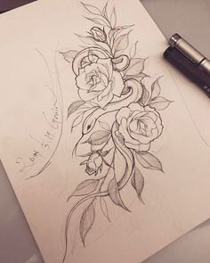 Tattoos are currently observed as an artwork and a type of individual articulation and the floral tattoo is winding up progressively mainstr. Rose Tattoos, Flower Tattoos, Body Art Tattoos, Small Tattoos, Sleeve Tattoos, Hand Tattoos, Snake And Flowers Tattoo, Flower Tattoo On Side, Tattoo Sketches