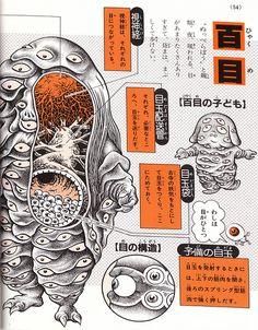 """Hyakume (""""one hundred eyes""""), is a yokai that protects shrines from the thieves. From Shigeru Mizuki's """"Yōkai Daizukai"""", 2004"""