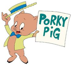 """Warner Bros' first breakthrough cartoon star, Porky Pig began as a character in Friz Freleng's """"I Haven't Got A an early color Merrie Melody in which he tries to recite """"Charge of the Light Brigade"""" in school without stammering, with humorous results Pig Character, Merrie Melodies, Time Cartoon, Looney Tunes Characters, Thats All Folks, Watch Cartoons, Childhood Days, Classic Cartoons, Warner Bros"""