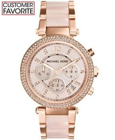 Michael Kors Women's Chronograph Parker Blush and Rose Gold-Tone Stainless Steel Bracelet Watch 39mm MK5896 - Two-Tone