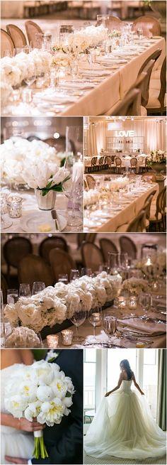 Featured Photographer: Samuel Lippke Studios; ballroom wedding with white color theme