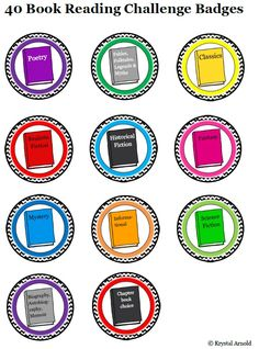 Reading Badges for 40 Book Challenge http://www.teacherspayteachers.com/Product/Reading-Badges-for-40-Book-Challenge-1358749