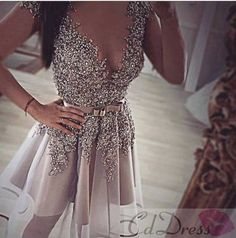 A Line V Neck Organza Sequin Short Prom Dress - HomeComing Dresses - Homecoming | Cocktail | Party - CDdress.co