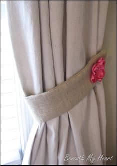Burlap tiebacks and cool links for drop cloth curtains and more