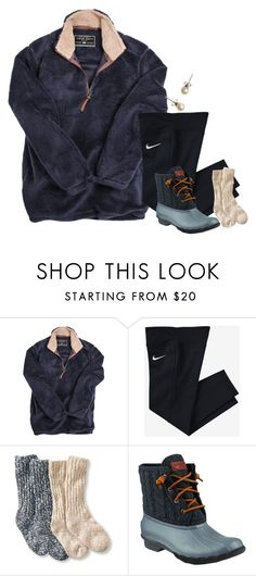 """comfy winter day. can't wait for Christmas break!"" by alexislynea-804 ❤ liked on Polyvore featuring True Grit, NIKE, L.L.Bean, Sperry and J.Crew"
