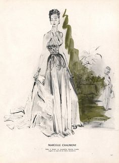 Marcelle Chaumont 1947 Demachy Evening Gown Fashion Illustration