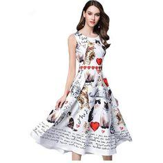 e7e2da7abe9 2017 New Summer Women Dress European Styl Sweet Casual Fashion Animal Print  Slim O Neck Sleeveless