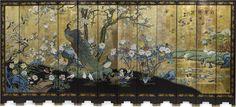 Magnificent 12 panel gold ground coromandel screen with semi-precious hardstone inlay.