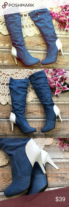 """c4ae0856c84 Blue Jean Denim Size 10 Heeled Boots Blue jean knee boots with solid white  4"""""""