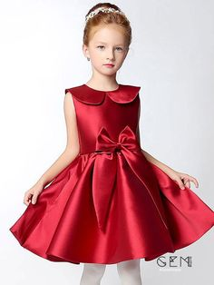 4a4f178147 Hot Red Short A Line Satin Collared Flower Girl Dress with Bows  EFS33 -  GemGrace.com