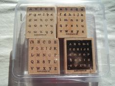 Stampin UP Set of4 Wood Mounted Rubber Stamps Alphabits set in Original Clamshell - pinned by pin4etsy.com