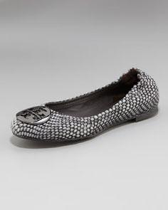 Tory Burch Reva Snake-Print Ballerina Flat in Black or Coconut