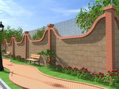 modern home exterior fence design ideas 2019 Garden Retaining Wall, Patio Fence, Brick Fence, Backyard Landscaping, Fence Wall Design, Fence Design, Boundry Wall, Gate Pictures, Compound Wall Design