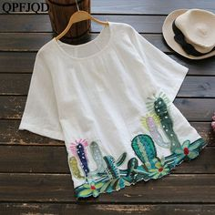 Sew T-Shirt Trendy Round Collar Cacti Embroidered Blouse - Material: Polyester Shirt Length: Regular Sleeves Length: Collar: Round Collar Pattern Type: Plant Decoration: Embroidery Style: Casual Weight: Package: 1 x Blouse Occasions: Casual