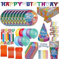 Birthday Party Supplies and Decorations for 8: 100+ Pieces. Plates, Cups, Cutlery, Squiggle Straws, Napkins, Tablecloth, Birthday Banner, Birthday Hats, Balloons, Blowouts, Cake Topper, Candles … - http://partysuppliesanddecorations.com/birthday-party-supplies-and-decorations-for-8-100-pieces-plates-cups-cutlery-squiggle-straws-napkins-tablecloth-birthday-banner-birthday-hats-balloons-blowouts-cake-topper-candles.html